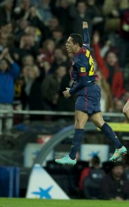 Barcelona 4-1 Atletico Madrid Adriano celebrates goal 1-1