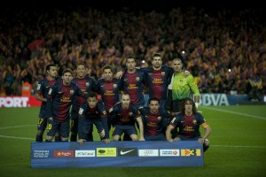 Barcelona 4-1 Atletico Madrid team photo