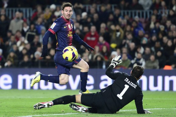 barcelona 5-1 athletic messi first goal 2-0