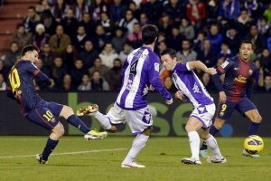 valladolid 1-3 barcelona messi scores second goal