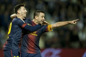 valladolid 1-3 barcelona xavi goal messi
