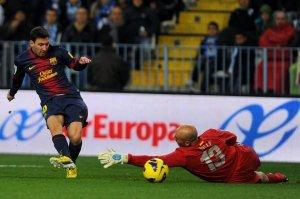 malaga 1-3 barcelona leo messi goal
