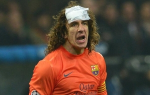 ac milan 2-0 barcelona puyol head injury