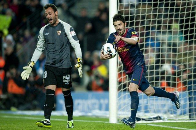 barcelona 2-1 sevilla david villa goal 2013
