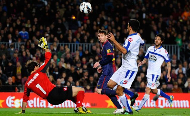barcelona 2-0 deportivo messi goal 17 consecutive league games