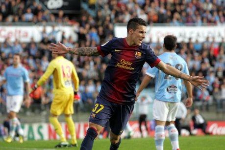 celta 2-2 barcelona tello celebrates goal 2013