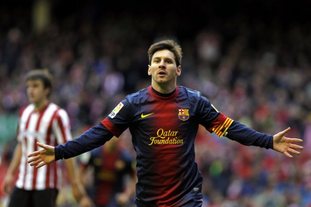athletic 2-2 barcelona messi celebrates goal 2013