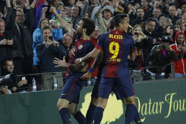 barcelona 1-0 levante cesc fabregas celebrates goal april 2013