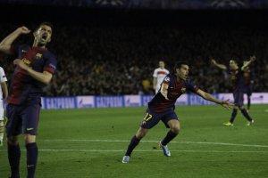 barcelona 1-1 psg pedro goal celebration 2013