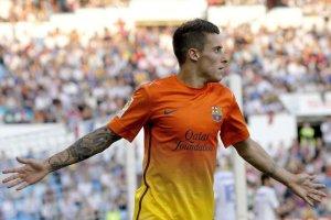 zaragoza 0-3 barcelona tello celebrates goal 2013