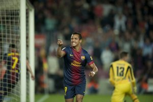 barcelona 4-2 betis alexis celebrates goal 2013