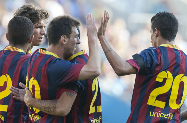 valerenga 0-7 barcelona messi goal celebration 2013