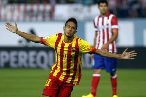 atletico madrid 1-1 barcelona neymar jr goal celebration 2013