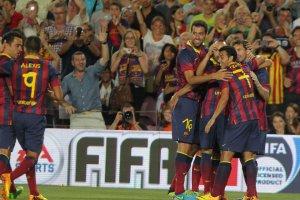 gamper 2013 barcelona 8-0 santos messi goal celebration