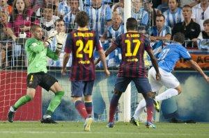Malaga 0-1 Barcelona Valdés save 2013