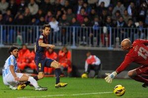 malaga 1-3 barcelona cesc fabregas goal