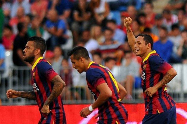almeria 0-2 barcelona adriano celebrates goal 2013