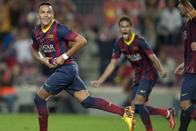 barcelona 3-2 sevilla alexis goal celebration 2013