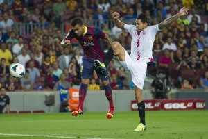 barcelona 3-2 sevilla alves heads first goal 2013