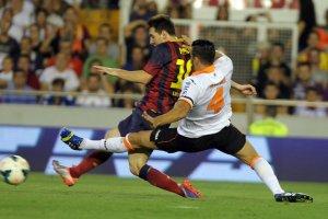 valencia 2-3 barcelona leo messi hat trick second goal 2013