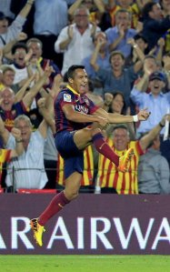 Barcelona 2-1 Real Madrid Alexis second goal celebration 2013