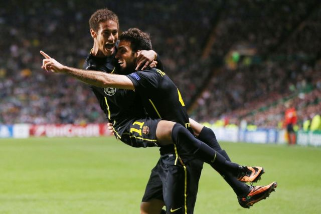 celtic 0-1 barcelona Fabregas Neymar celebrate goal 2013