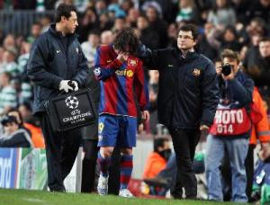 messi injured celtic 2008