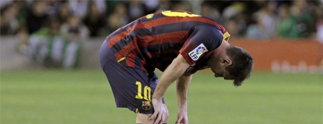 Messi injured vs Betis 2013
