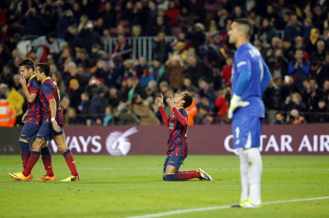Barça 2-1 Villarreal Neymar goal celebration 2013