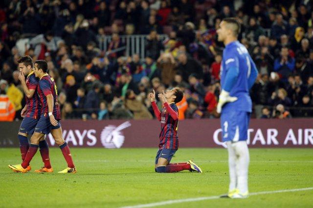 Barça 2-1 Villarreal Neymar goal celebration 2013
