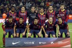 Barça 2-1 Villarreal team photo 2013