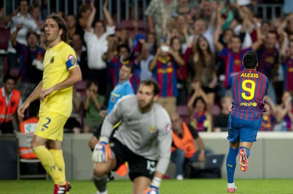 Barcelona 5-0 Villarreal Alexis goal celebration 2011