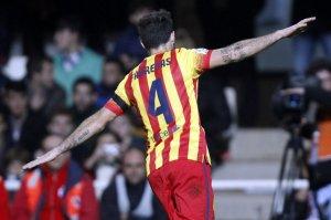 Cartagena 1-4 Barcelona Fabregas goal celebration copa del rey 2013