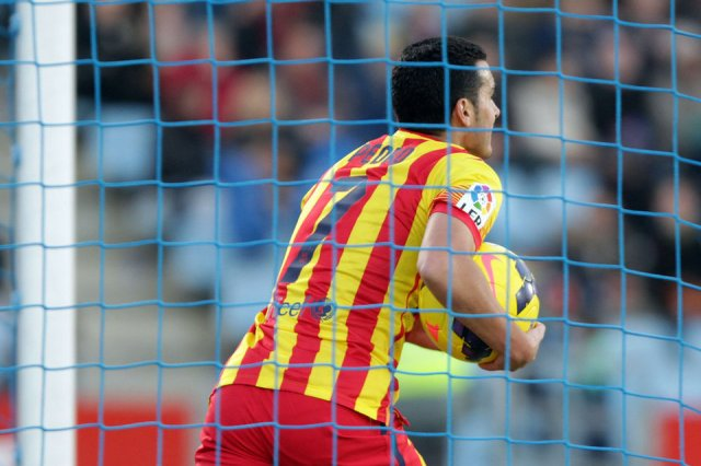 Getafe 2-5 Barcelona Pedro after first goal 2013