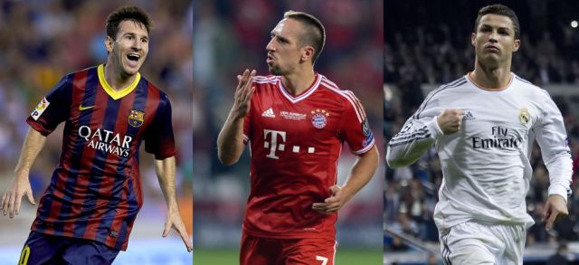Messi Ribery Ronaldo FIFA Ballon d'Or Finalists 2013