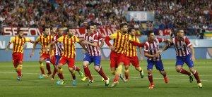 Atlético 0-0 Barça defending free kick 2014