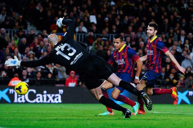 Barça 3-0 Malaga Alexis goal 2014