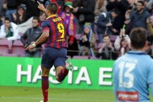 Barça 4-0 Elche Alexis celebrates goal 2014