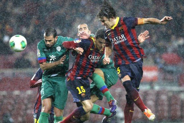Barça 5-1 Levante Puyol goal Copa del Rey 2014