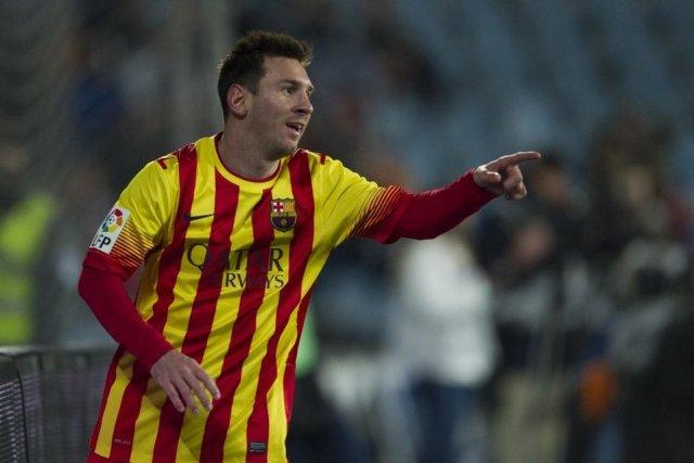 Getafe 0-2 Barça Messi goal celebration 2014
