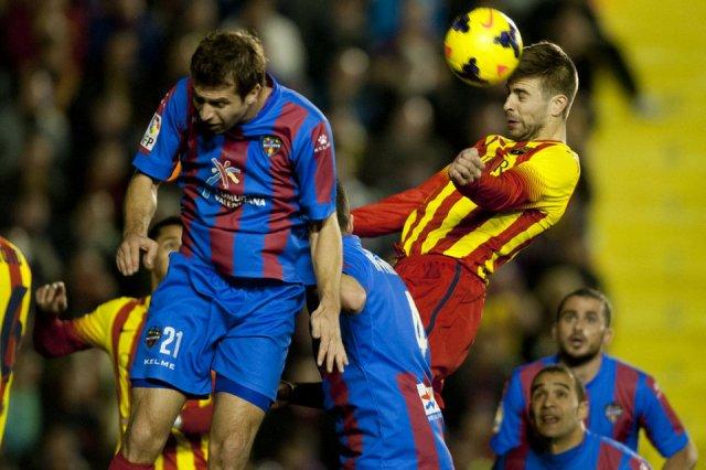Levante 1-1 Barcelona Piqué header goal 2014