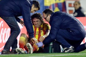 Levante 1-4 Barça Puyol injured Copa del Rey 2014