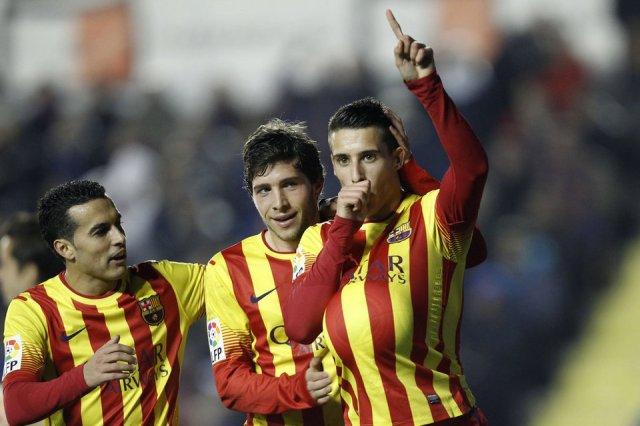 Levante 1-4 Barça Tello celebrate hat-trick copa del Rey 2014