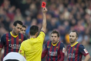 barça 2-3 valencia jordi alba red card 2014