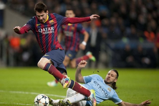 Man City 0-2 Barça Messi Demichelis penalty 2014