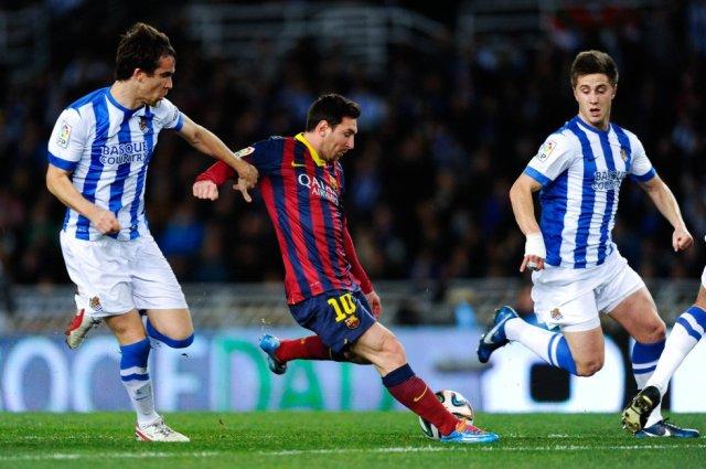 Real Sociedad 1-1 Barça Leo Messi shoots goal 2014