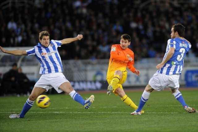 real sociedad 3-2 barcelona messi goal 0-1