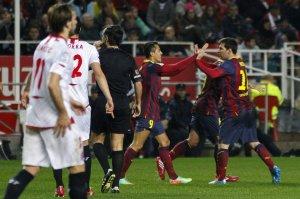 Sevilla 1-4 Barça Alexis goal celebration Messi 2014