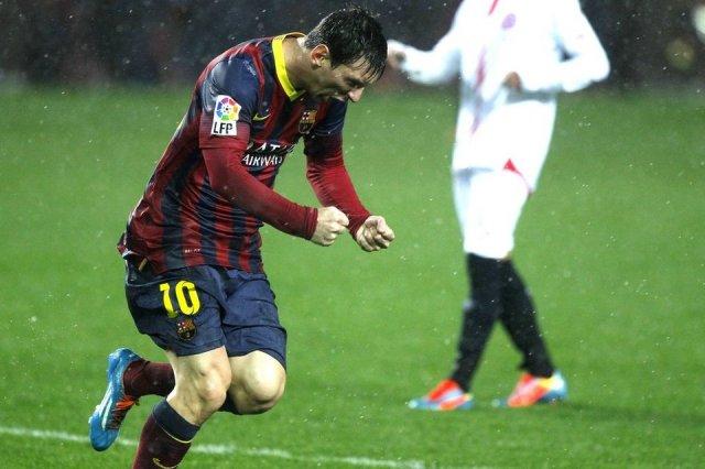 Sevilla 1-4 Barça Messi goal celebration 2014