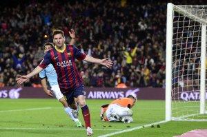Barça 3-0 Celta Messi celebrates goal
